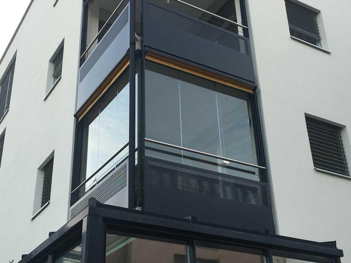 Fermeture de balcon tout verre – vue extérieure à Genève